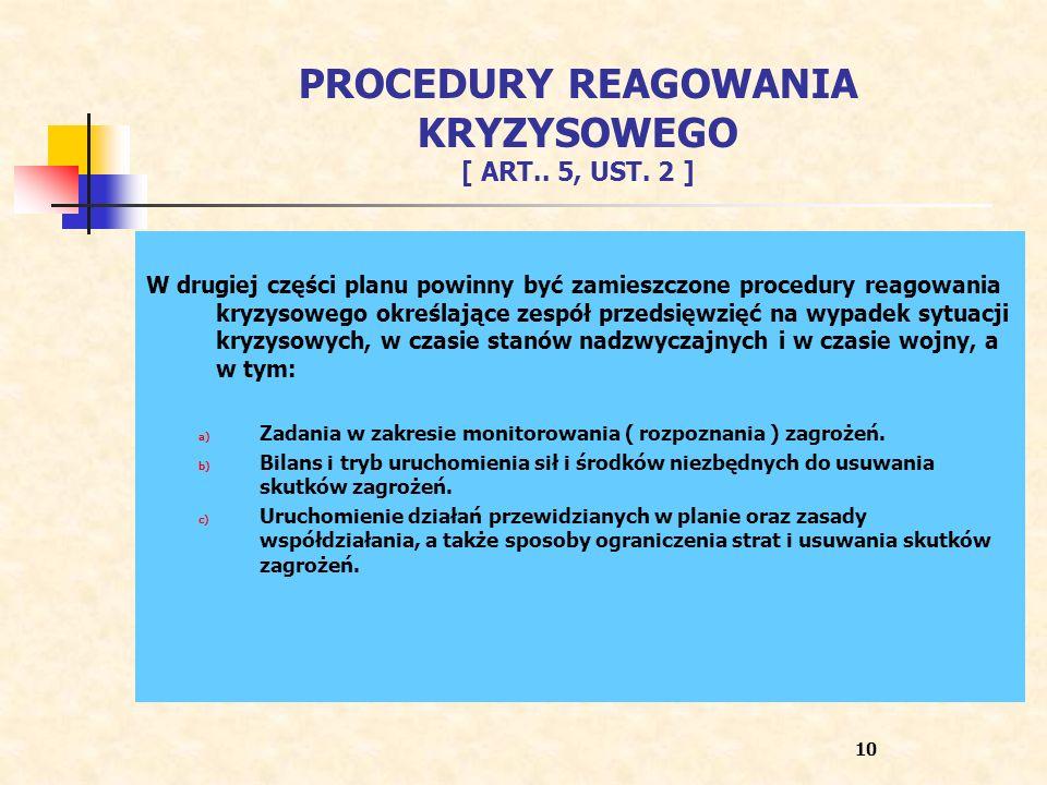 PROCEDURY REAGOWANIA KRYZYSOWEGO [ ART.. 5, UST. 2 ]